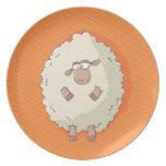 Ejemplo de una oveja gigante linda y divertida plato para fiesta