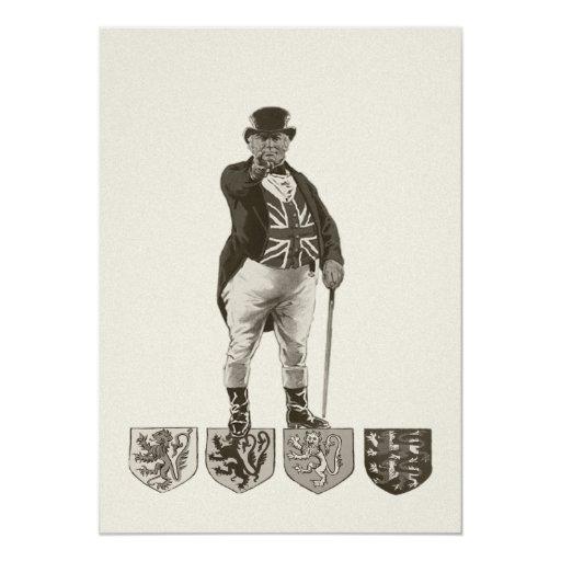 Ejemplo de Union Jack del Victorian de Juan Bull Invitación 12,7 X 17,8 Cm
