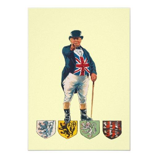 """Ejemplo de Union Jack del Victorian de Juan Bull Invitación 5"""" X 7"""""""