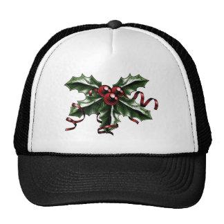 Ejemplo del acebo del navidad del vintage gorra