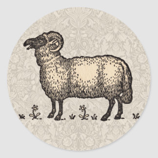 Ejemplo del animal del campo de las ovejas del pegatina redonda