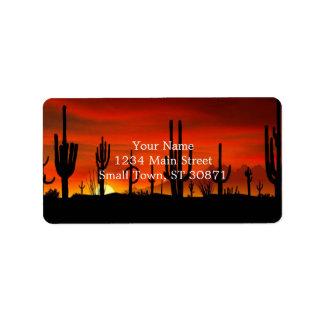 Ejemplo del árbol del cactus cuando la puesta del etiqueta de dirección