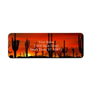 Ejemplo del árbol del cactus cuando la puesta del etiquetas de remite