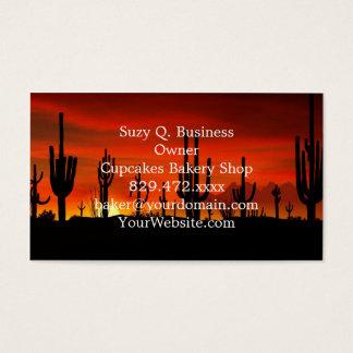 Ejemplo del árbol del cactus cuando la puesta del tarjetas de visita