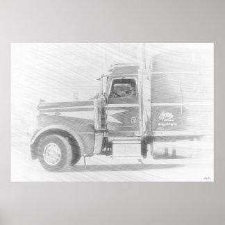 Ejemplo del arte del camión y del conductor de la impresiones