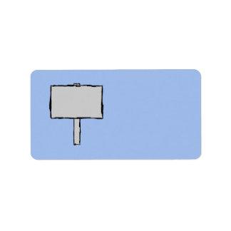 Ejemplo del aviso del poste indicador. Azul Etiquetas De Dirección