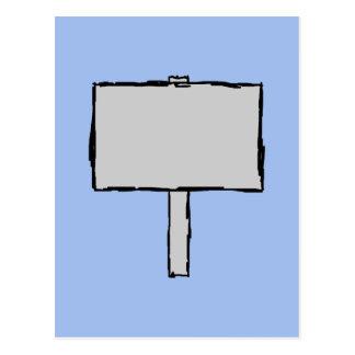 Ejemplo del aviso del poste indicador. Azul Tarjetas Postales