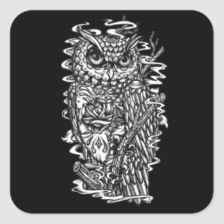 Ejemplo del búho del estilo del tatuaje de la pegatina cuadrada