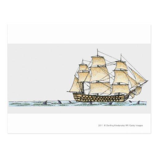 Ejemplo del buque de guerra de los fin del siglo tarjeta postal
