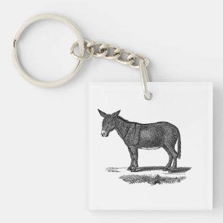 Ejemplo del burro del vintage - burros 1800's llavero cuadrado acrílico a doble cara