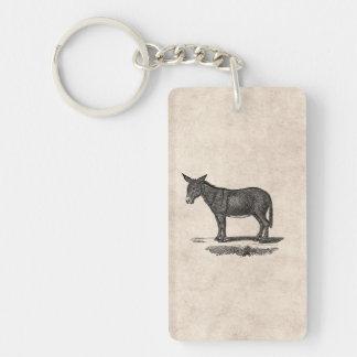 Ejemplo del burro del vintage - burros 1800's llavero rectangular acrílico a una cara