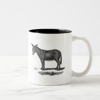 Ejemplo del burro del vintage - burros 1800's taza de dos tonos