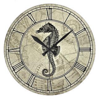 Ejemplo del caballo de mar del vintage reloj redondo grande