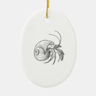 Ejemplo del cangrejo de ermitaño (línea arte) adorno de reyes