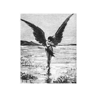 Ejemplo del carbón de leña del ángel del diablo de impresión en lona estirada