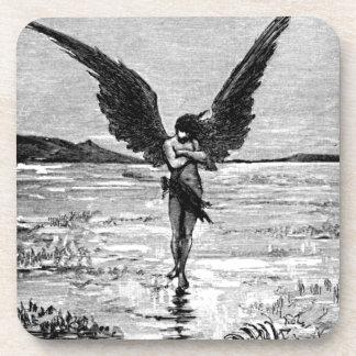 Ejemplo del carbón de leña del ángel del diablo de posavaso
