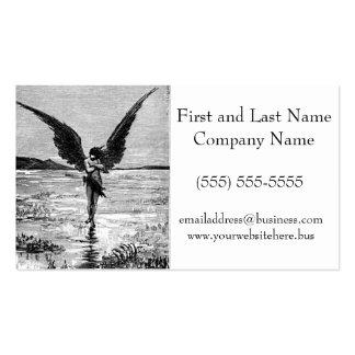 Ejemplo del carbón de leña del ángel del diablo de tarjetas de visita