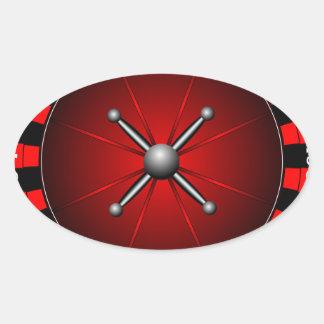 Ejemplo del casino con la rueda de ruleta pegatina ovalada
