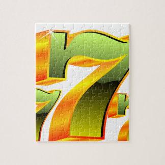 Ejemplo del casino con sevens. verde puzzle