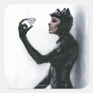 Ejemplo del Catwoman Pegatina Cuadrada
