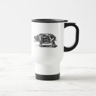 Ejemplo del cerdo del vintage - plantilla del cerd taza de viaje de acero inoxidable