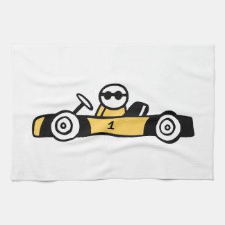 Ejemplo del coche de competición impreso en las toallas