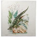 Ejemplo del cocodrilo del cocodrilo de los 1800s d servilleta imprimida