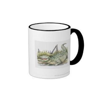 Ejemplo del cocodrilo en la orilla tazas de café
