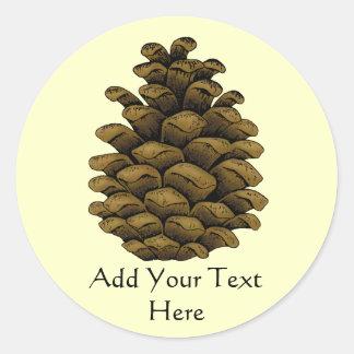Ejemplo del cono del pino etiquetas redondas