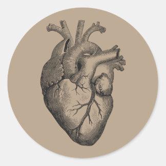 Ejemplo del corazón del vintage pegatina redonda