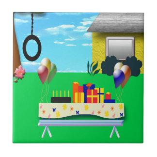 Ejemplo del dibujo animado de la fiesta de cumplea azulejo cuadrado pequeño