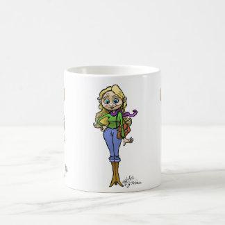 Ejemplo del dibujo animado de la mujer de las taza de café