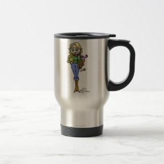 Ejemplo del dibujo animado de la mujer de las taza de viaje