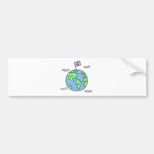 ejemplo del dibujo animado de la paz de mundo pegatina de parachoque