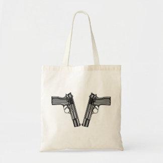 Ejemplo del dibujo animado de una pistola moderna bolsa tela barata