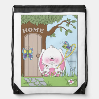 Ejemplo del dibujo animado del conejito del bebé mochila