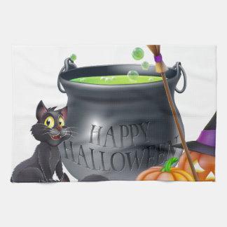 Ejemplo del dibujo animado del feliz Halloween Toallas De Mano