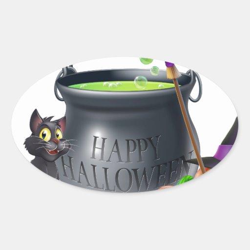 Ejemplo del dibujo animado del feliz Halloween Calcomanía De Ovaladas