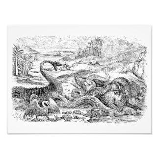 Ejemplo del dinosaurio de los 1800s del vintage -  fotografía