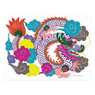 Ejemplo del dragón chino con 2 vibrantes tarjetas postales