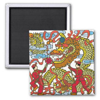 Ejemplo del dragón chino en nuevo chino imán cuadrado