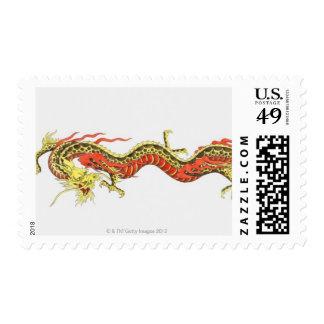 Ejemplo del dragón chino timbres postales