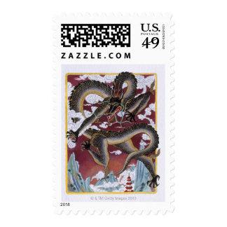 Ejemplo del dragón enojado, representando timbres postales