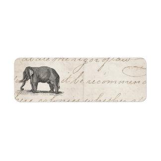Ejemplo del elefante de los 1800s del vintage - el etiqueta de remite