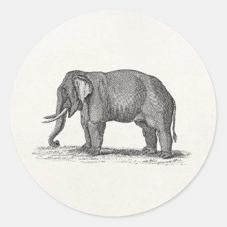 Ejemplo del elefante de los 1800s del vintage - el etiquetas redondas