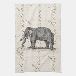 Ejemplo del elefante de los 1800s del vintage - el toalla de cocina