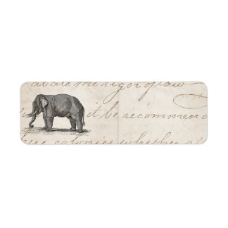Ejemplo del elefante de los 1800s del vintage - etiqueta de remite