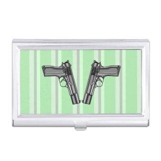 Ejemplo del estilo del dibujo animado de dos armas caja de tarjetas de visita