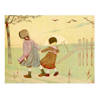 """Ejemplo del francés del vintage de los """"niños"""" postales"""