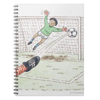 Ejemplo del fútbol de retroceso con el pie del pie cuadernos